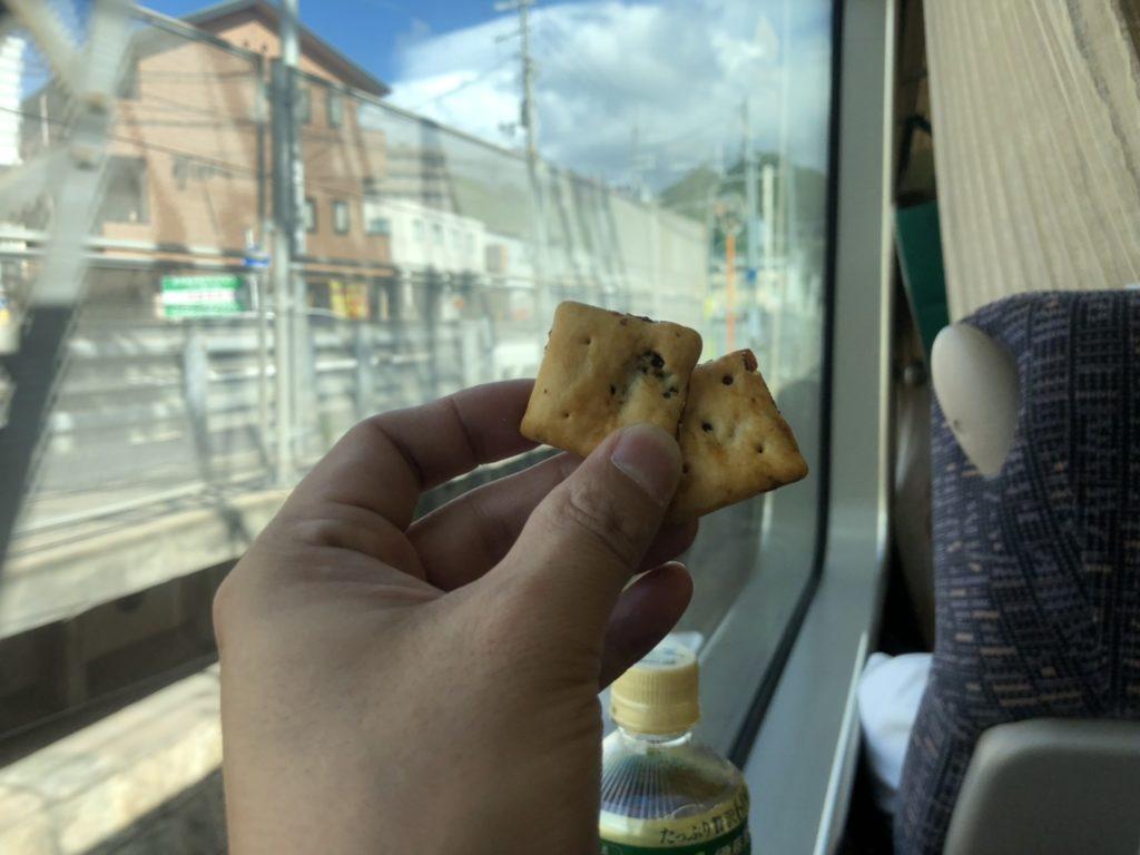 電車の中でオールレーズンを食べる様子