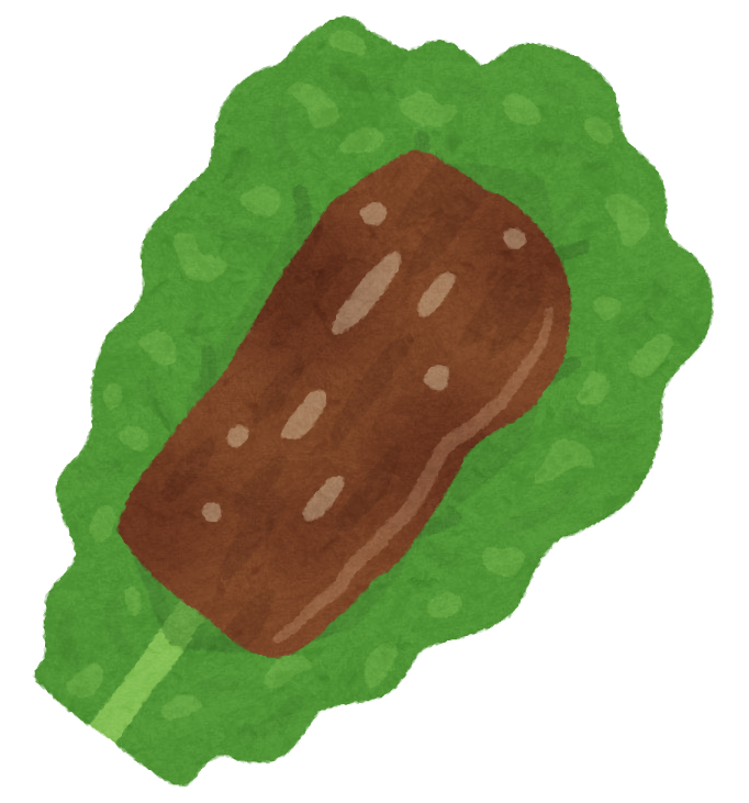 プルコギをチシャ菜で巻いたイラスト