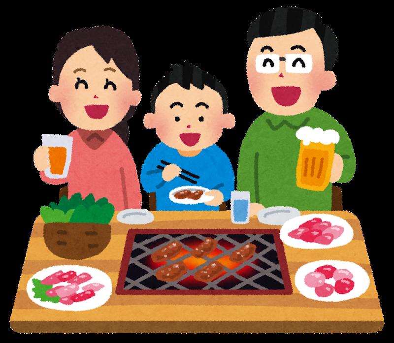 プルコギを家族で食べているイラスト