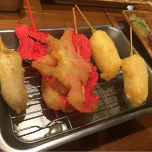 紅しょうがの串カツはカロリーは高いがやせる。生姜にはダイエット・健康に効く栄養が含まれているのでオススメです。